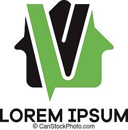 V letter logo design. Letter v in house shape vector illustration. Real estate vector logo.