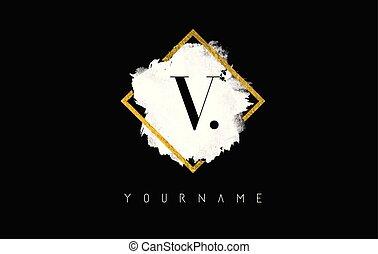 V Letter Logo Design with White Stroke and Golden Frame.