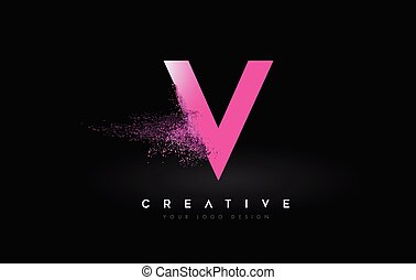V Letter Logo with Dispersion Effect and Purple Pink Powder ...