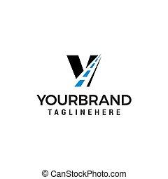 v, manière, logo, conception, lettre, route, créatif, gabarit