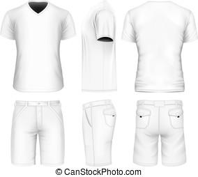 v-neck, homens, t-shirt., calção bermudas