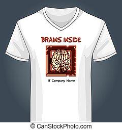 V neck shirt template with human brain inside main PC unit