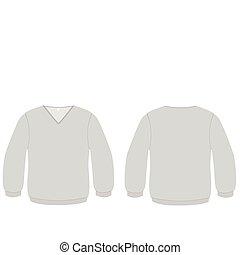 v-neck, suéter, vetorial, illustration.