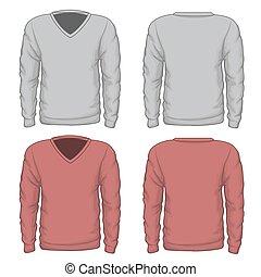 v-neck, sweatshirt, vektor, henkastet, mens
