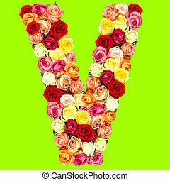 Flower alphabet v letter v made of flowers isolated on white v roses flower alphabet altavistaventures Images