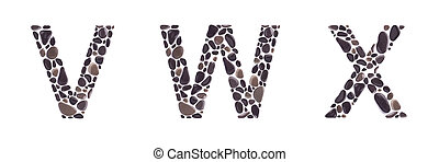 V, W and X letters made of beach stones isolated on white background