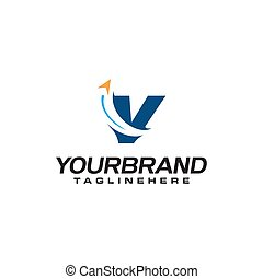 v, zakelijk, logo, reizen, richtingwijzer, brief b, aanvankelijk, vorm, mal