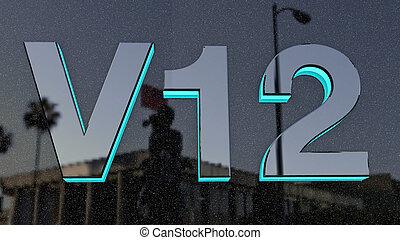 v12, 印, ラベル, バッジ, emble.