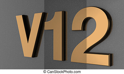 v12, 印, ラベル, バッジ, emblem.