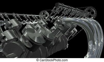 V12 Engine Animation. Loop   Alpha