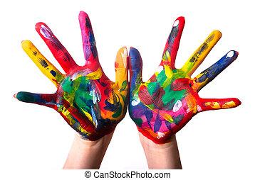 v3, twee, kleurrijke, handen