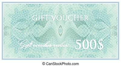 vector template design of gift voucher or certificate with guilloche pattern (watermarks). also can be used for banknote design and other financial documents