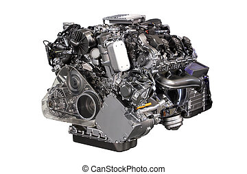 v6, auto, hybride, motor, vrijstaand, op wit