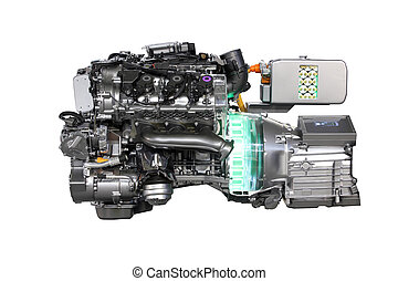 v6 car hybrid engine isolated