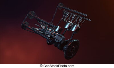 V6 engine inside, animation in motion, pistons, camshaft,...