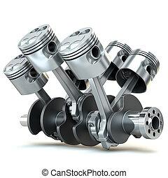 v6, moteur, pistons., 3d, image.