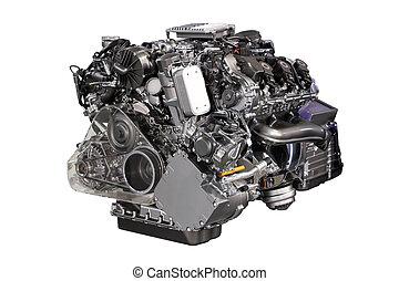 v6, voiture, hybride, moteur, isolé, blanc