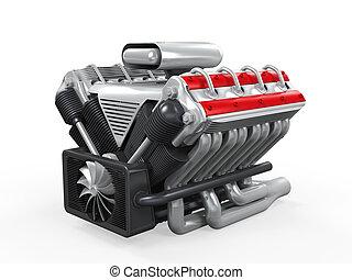 V8 Car Engine isolated on white background. 3D render