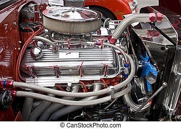 V8 engine compartment with chromed components