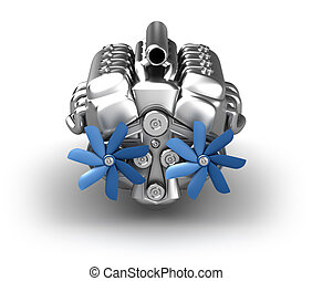 V8 engine over white. My own design. Front view