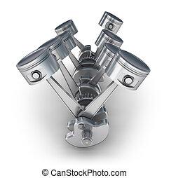 V8 engine pistons. 3D image