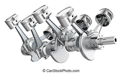 V8 engine pistons on a crankshaft, isolated on white ...