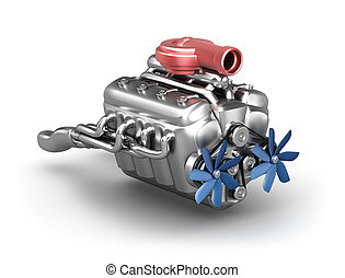 V8 engine with turbocharger over white. My own design.