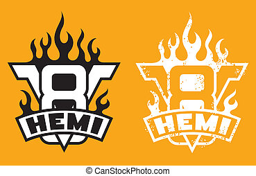 V8 Hemi engine emblem with flames