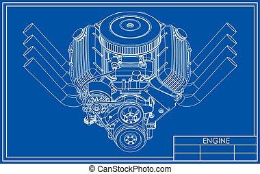 v8, maszyna, gorący pręt, rysunek