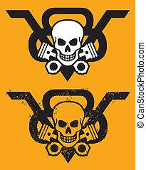 v8, motor, emblema, com, cranio, e, pis