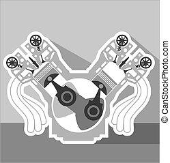 v8, motor, kors sektion, vektor