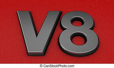 V8 sign, label, badge, emblem.