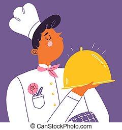vařit, zlatý, ilustrace, podnos, vrchní kuchař, vektor, karikatura, lesklý, mládě
