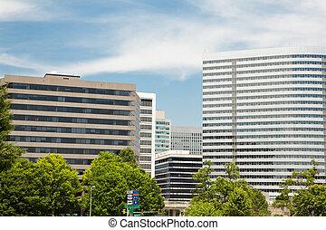 va, épületek, hivatal, virginia, modern, belvárosi, rossyln