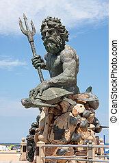 va, óriási, király, neptun-bolygó, szobor, tengerpart