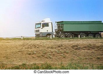 va, camion, autoroute, décharge, pays