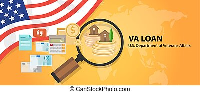 VA Loan mortgage loan in the United States guaranteed by the U.S. Department of Veterans Affairs vector