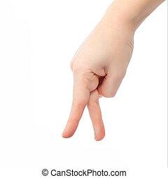 va, main, doigts, femme, isolé