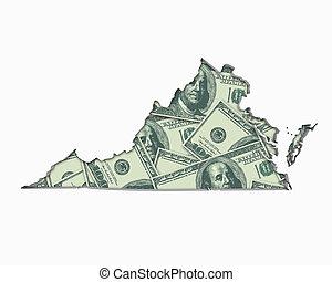 va, térkép, pénz, dollárok, készpénz, ábra, virginia, gazdaság, 3
