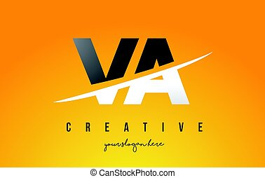 VA V A Letter Modern Logo Design with Swoosh Cutting the Middle Letters and Yellow Background.