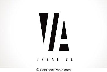 VA V A White Letter Logo Design with Black Square Vector Illustration Template.