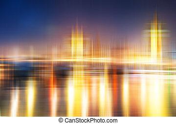 vaag, abstract, stad skyline, kleurrijke, achtergrond