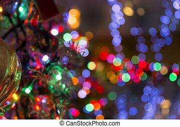 vaag, christmas lights, en, weerspiegelingen