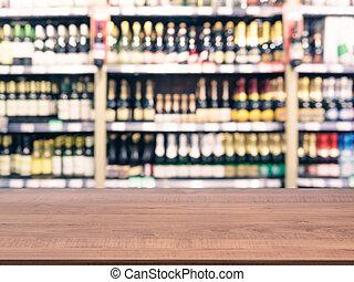 vaag, kleurrijke, supermarkt, producten, op, planken