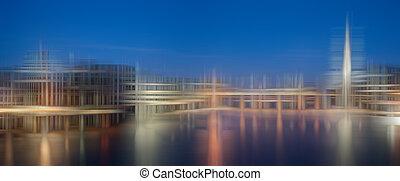 vaag, stad skyline, abstract, kleurrijke, achtergrond