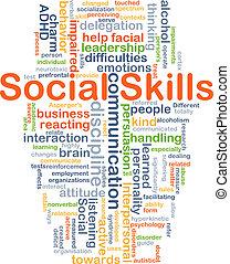 vaardigheden, concept, achtergrond, sociaal