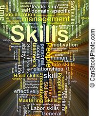 vaardigheden, gloeiend, concept, achtergrond
