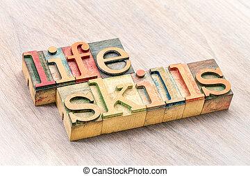 vaardigheden, leven, hout, type, typografie