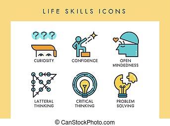 vaardigheden, leven, iconen