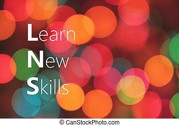 vaardigheden, nieuw, concept, leren